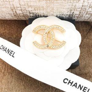 Chanel CC Logo Crystal Rhinestone Gold Brooch